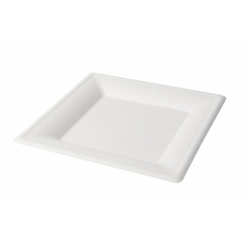 Jednorazový tanier z cukrovej trstiny, štvorec 26x26cm