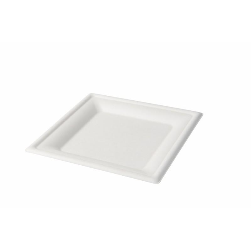 Jednorazový tanier z cukrovej trstiny, štvorec 20x20cm
