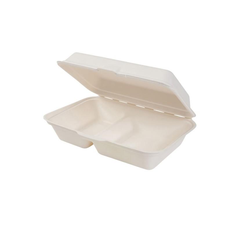 Gastro box z cukrovej trstiny s viečkom dvojdielny 1000 ml
