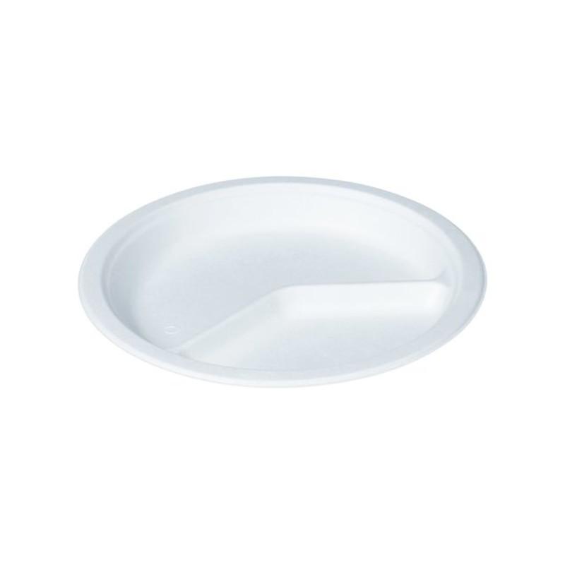 Jednorazový tanier z cukrovej trstiny okrúhly 2 dielny Ø 26 cm